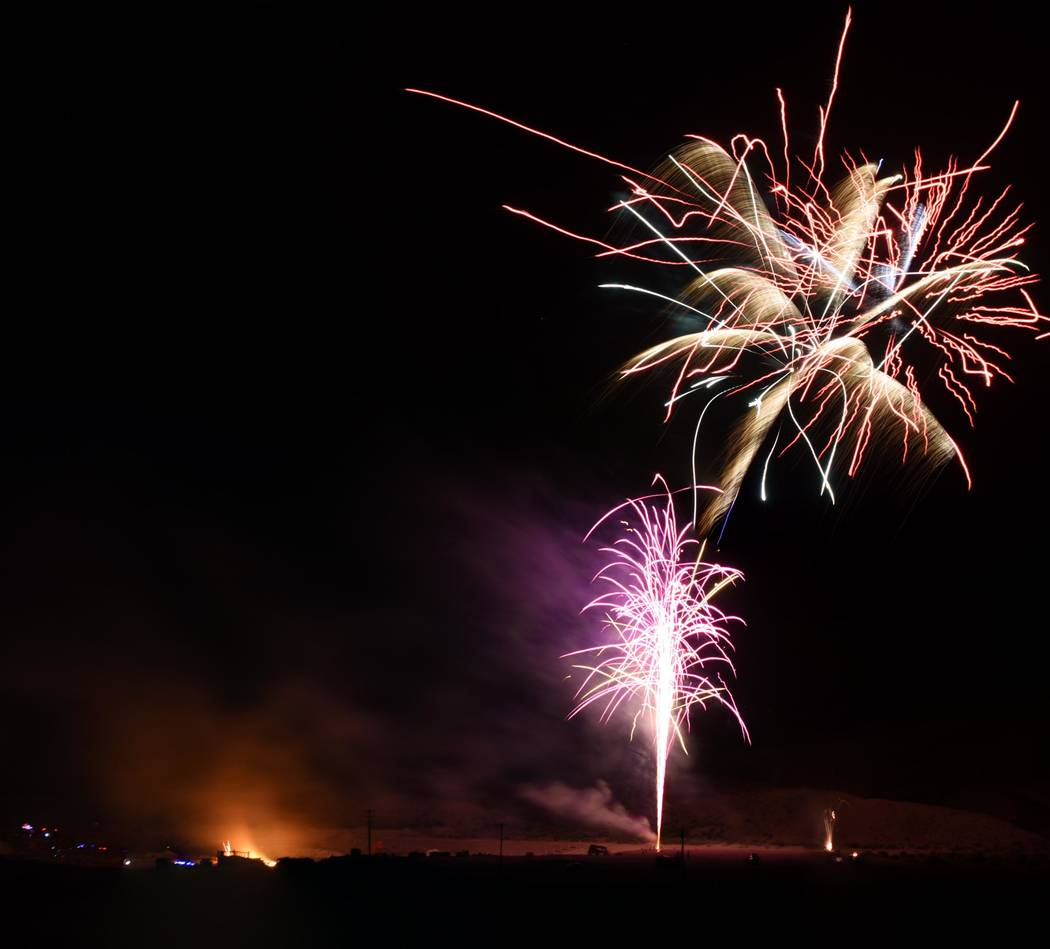Richard Stephens/Special to the Pahrump Valley Times On June 16, fireworks illuminated the skies in the Beatty community.