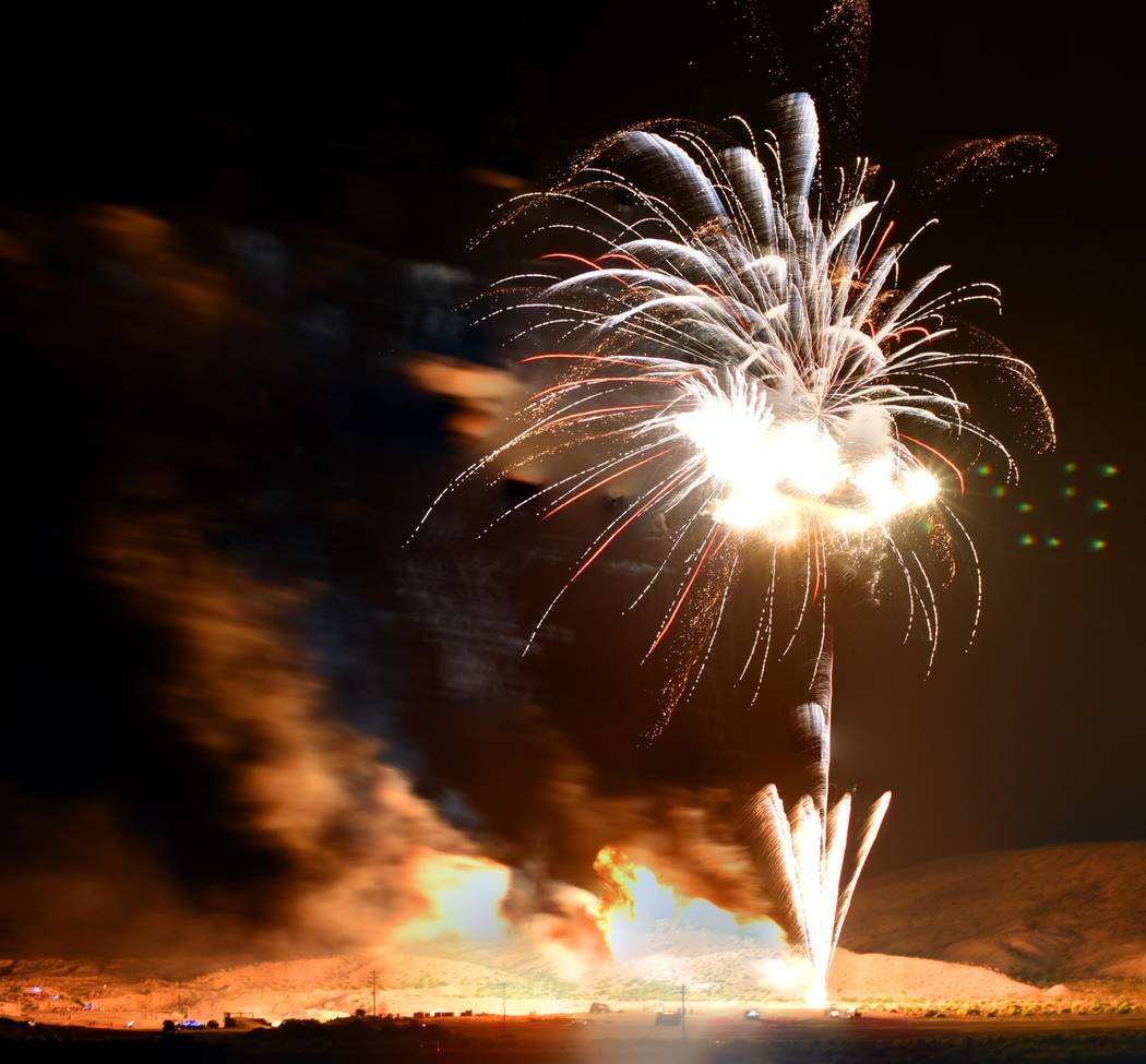 Richard Stephens/Special to the Pahrump Valley Times A look at fireworks lighting up the community skies over Beatty on June 16.