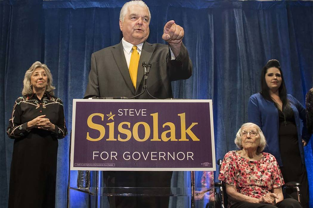 Steve Sisolak speaks to supporters at a watch party after winning the gubernatorial Democratic primary at the Aria on Tuesday, June 12, 2018, in Las Vegas. Benjamin Hager Las Vegas Review-Journal ...