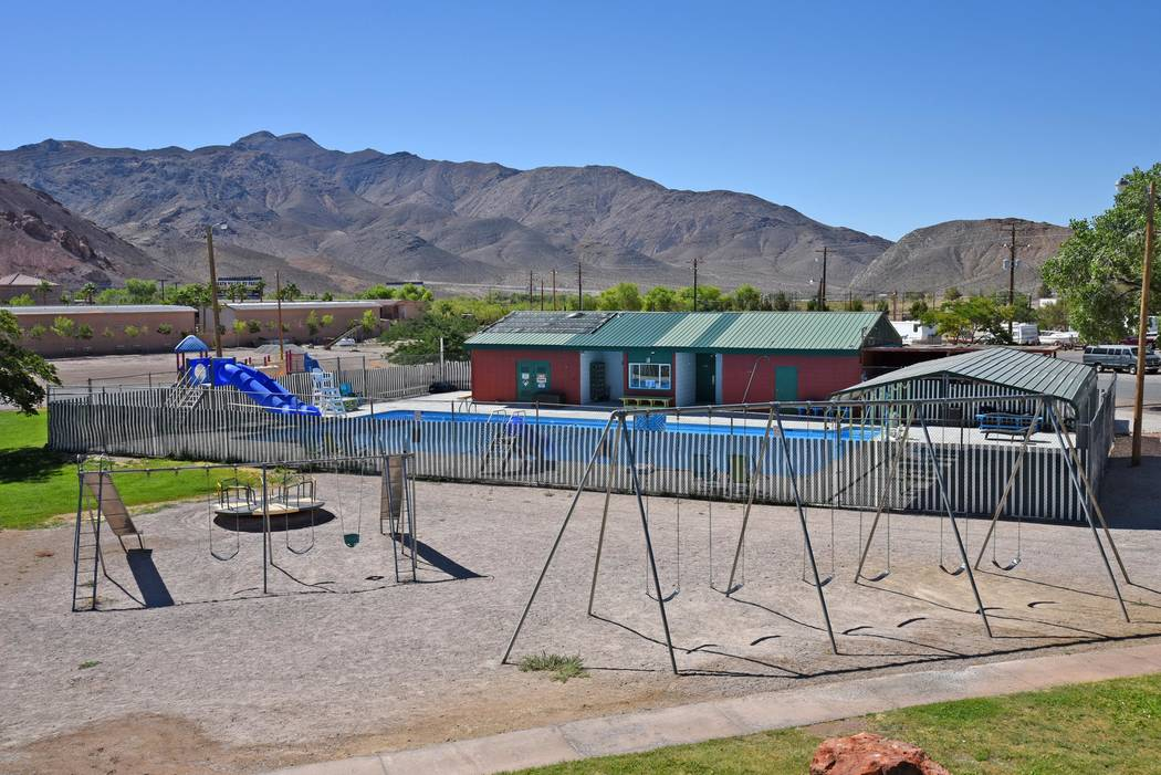 David Jacobs/Pahrump Valley Times The Beatty public swimming pool in Cottonwood Park on June 20, 2018. The pool is currently closed due to a staffing issue and no specific re-opening date has bee ...