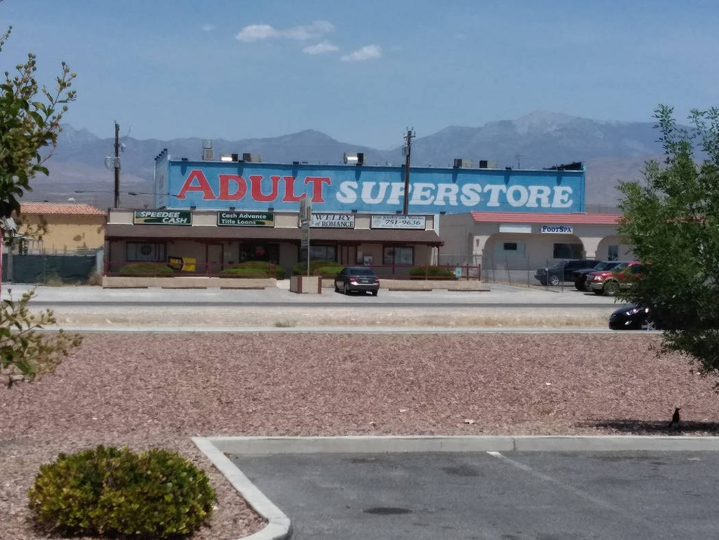 Selwyn Harris/Pahrump Valley Times The unmistakable rear-facade of Pahrump's Adult Superstore greets motorists driving along Highway 160 across from Walmart. The business is located at 330 Emery S ...