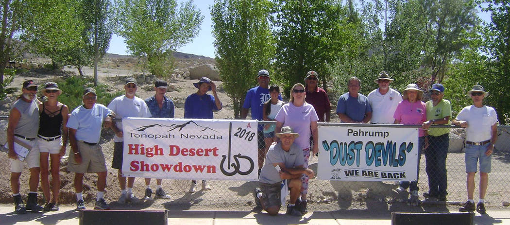 Mike Norton/Special to the Pahrump Valley Times All participants in the High Desert Showdown, an event sanctioned by the National Horseshoe Pitchers Association, pose June 16 in Tonopah.