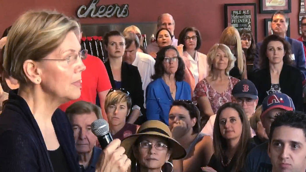 Jeffrey Meehan/Pahrump Valley Times Massachusetts Sen. Elizabeth Warren (left) speaks on the Trump administratoin's zero-tolerance policy on immigration and other topics affecting the U.S. and Nev ...