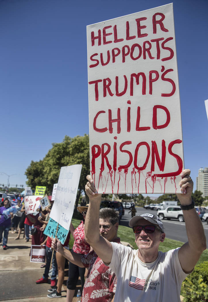 Protester Lance Wilson, right, outside Suncoast hotel-casino ahead of President Donald Trump's appearance on Saturday, June 23, 2018, in Las Vegas. Benjamin Hager Las Vegas Review-Journal @benjami ...