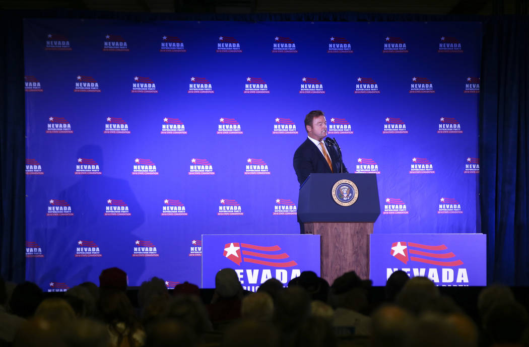 U.S. Sen. Dean Heller, R-Nev., speaks ahead of President Donald Trump's keynote address at the Nevada Republican Party State Convention at the Suncoast in Las Vegas on Saturday, June 23, 2018. Cha ...