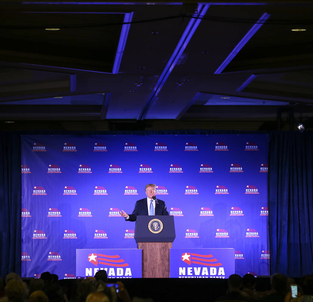 President Donald Trump speaks during the keynote address at the Nevada Republican Party State Convention at the Suncoast in Las Vegas on Saturday, June 23, 2018. Chase Stevens Las Vegas Review-Jou ...