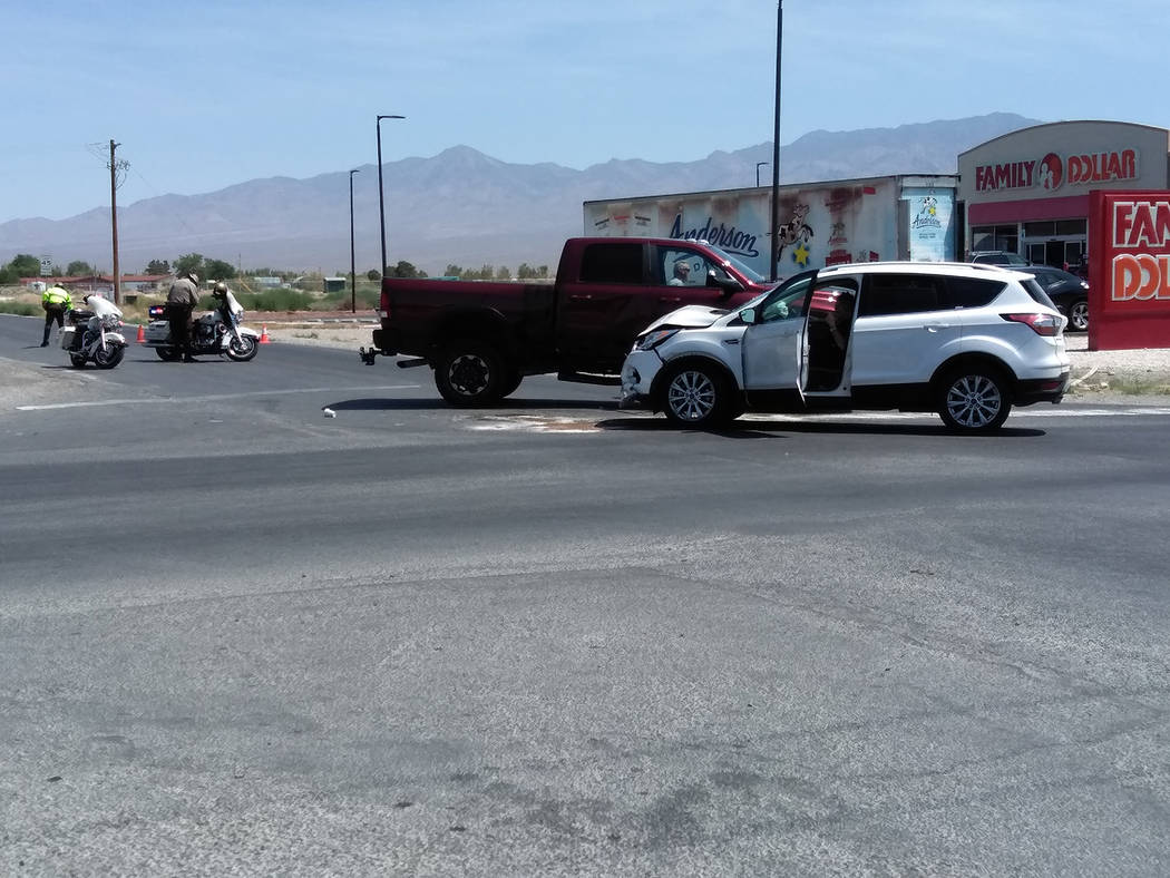 Selwyn Harris/Pahrump Valley Times A tourist from Italy suffered moderate injuries after a two-vehicle collision at the intersection of Bell Vista Road and Leslie Street, just after 10 a.m. on Mon ...