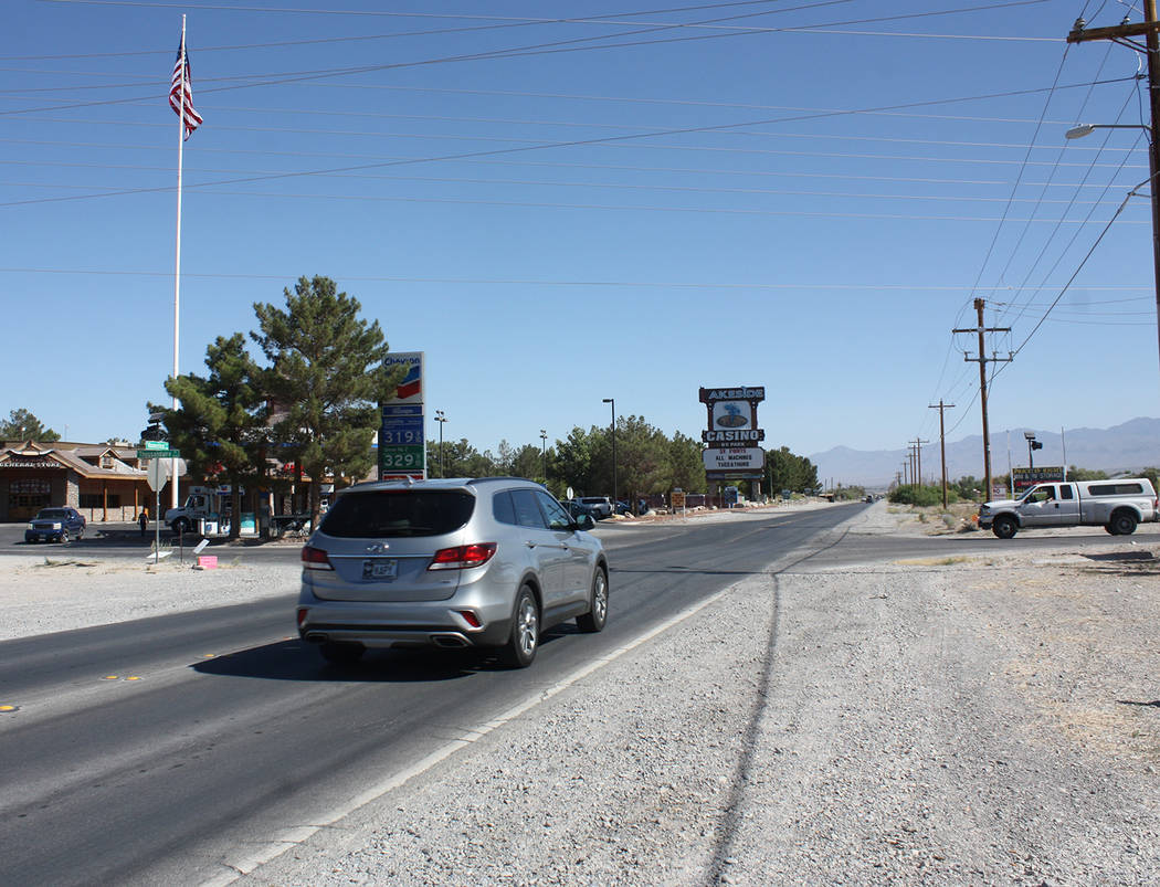 Robin Hebrock/Pahrump Valley Times Taken on Tuesday, June 26, this photo shows the intersection on Homestead Road and Thousandaire Boulevard where road crews will soon be undertaking a $1 million ...