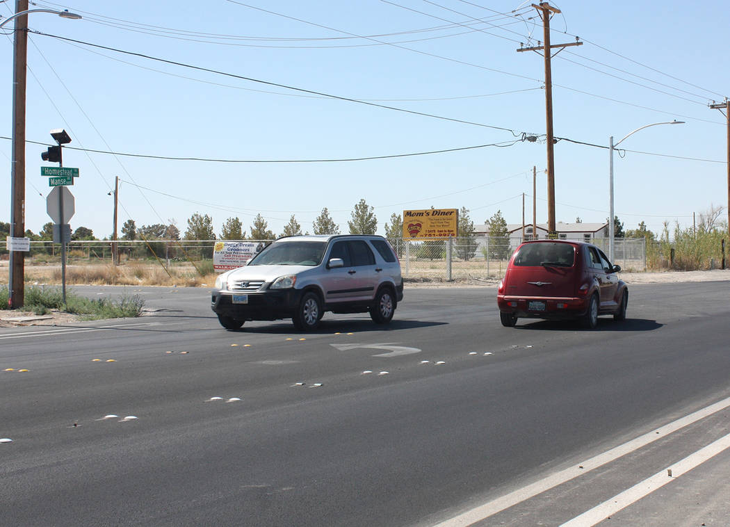 Robin Hebrock/Pahrump Valley Times The last phase of construction on Homestead Road ended at the intersection of Manse Road, pictured here. The next phase will address approximately 1.22 miles of ...