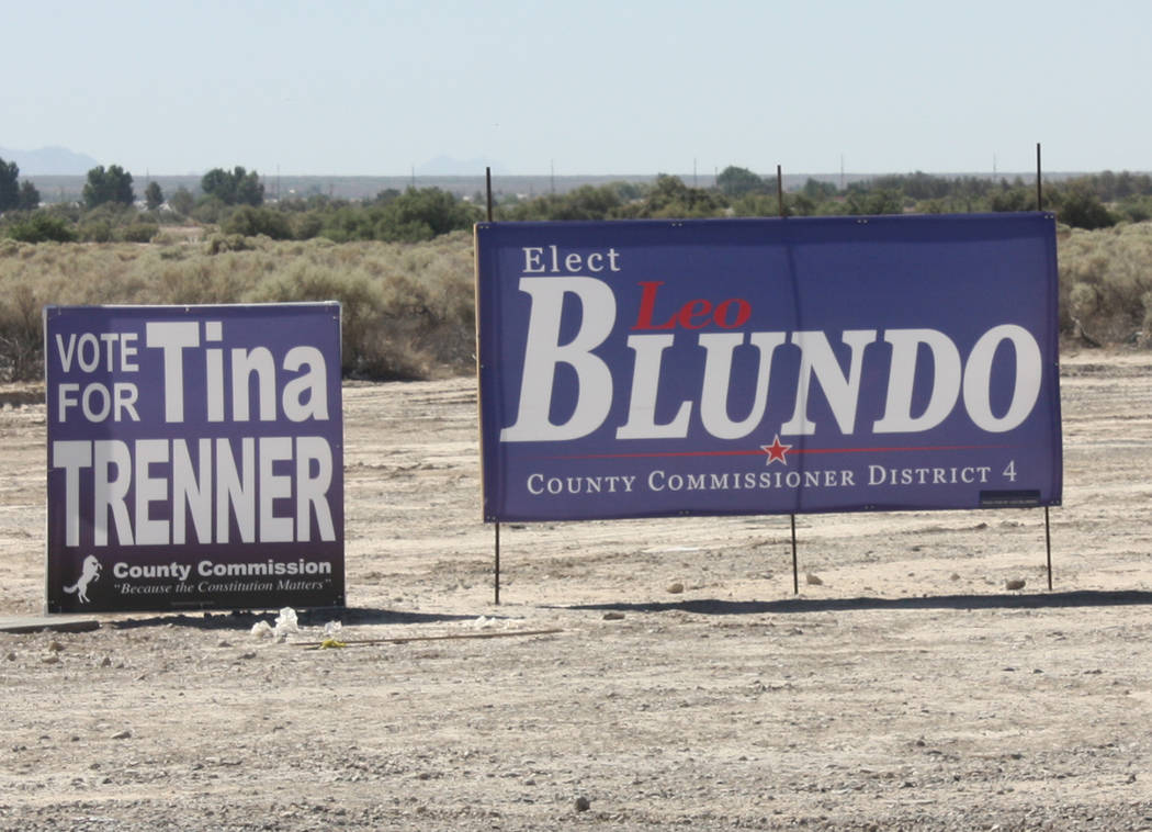Robin Hebrock/Pahrump Valley Times In the Republican primary for Nye County Commission District 4, Leo Blundo and Tina Trenner were separated by only eight votes, leading Trenner to request a reco ...