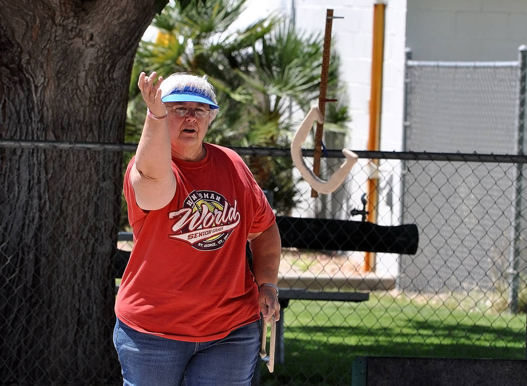 Horace Langford Jr./Pahrump Valley Times Kim Bradshaw of Pahrump will be taking her horseshoes to St. George, Utah for the annual Huntsman World Senior Games, her first time going for horseshoes a ...