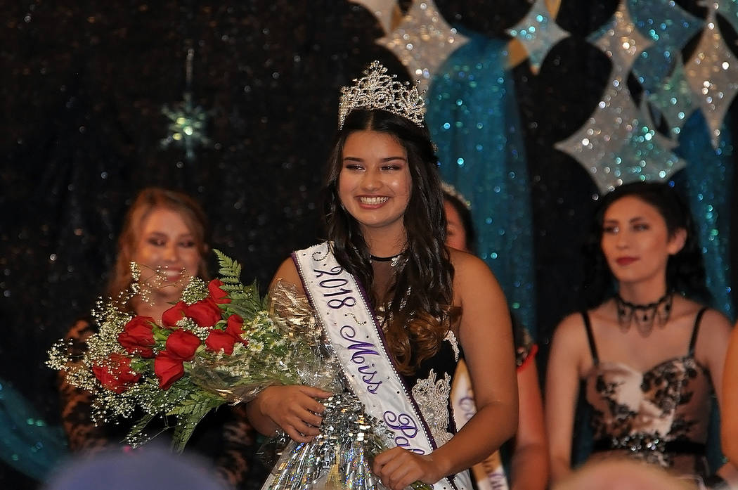 Horace Langford Jr./Pahrump Valley Times An ebullient Romi Carreon was crowned Miss Pahrump 2018 during the Saturday June 23rd pageant inside the Saddle West Showroom. Carreon was one of 10 contes ...