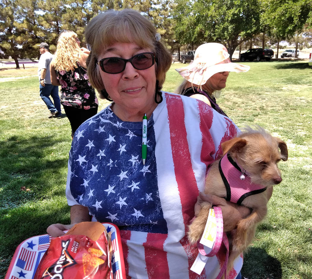 Selwyn Harris/Pahrump Valley Times Pahrump resident Sally Tribble displays her patriotism during a recent event honoring area veterans.