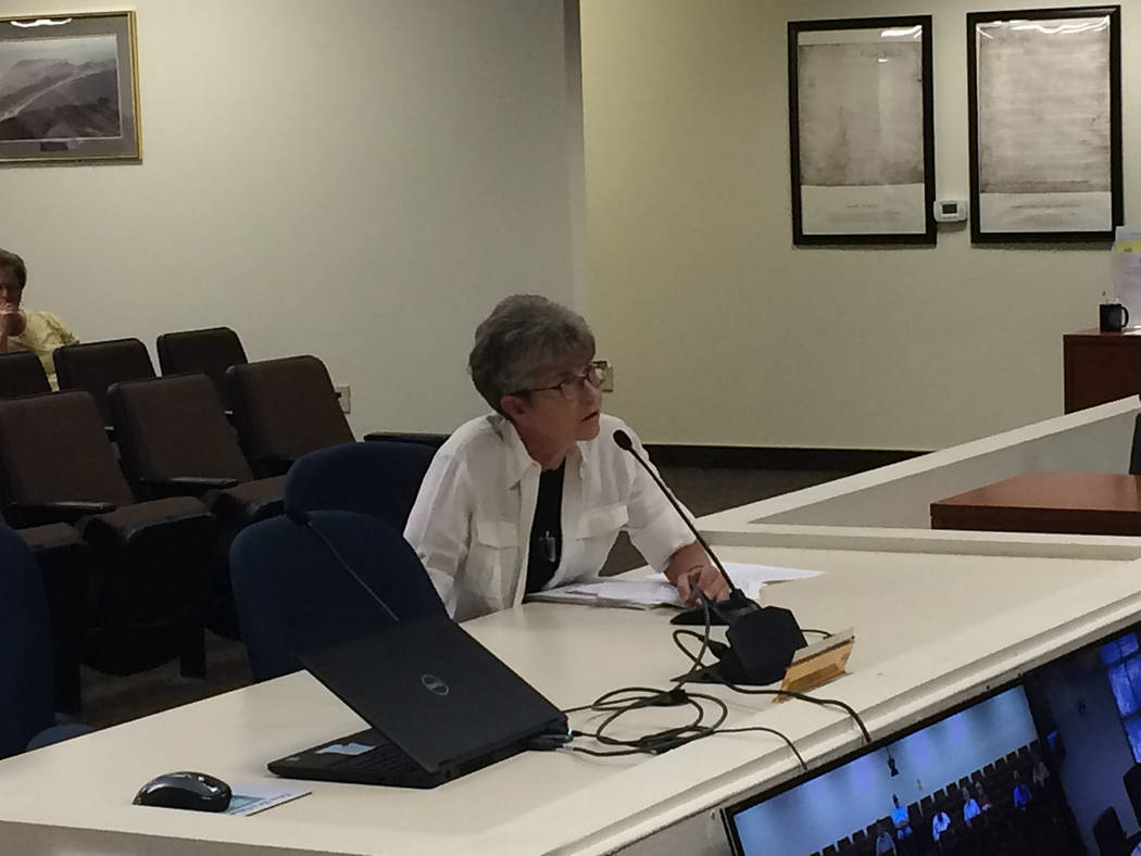 Robin Hebrock/Pahrump Valley Times Fifth Judicial District Court Judge Kimberly Wanker is shown addressing the Nye County Commission regarding funding necessary for a new court case management sys ...