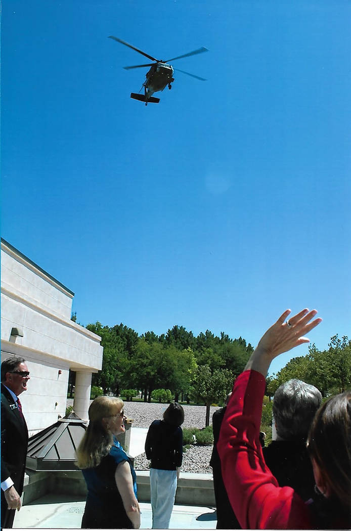 Chuck Baker/Special to the Pahrump Valley Times The military helicopter flew low enough to the ground for those watching to excitedly wave to the smiling pilot, who was easily recognizable.
