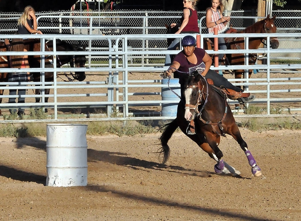 Horace Langford Jr./Pahrump Valley Times The Pahrump Valley Rough Riders included barrel racing in their monthly show June 16 at McCullough Arena in Pahrump.