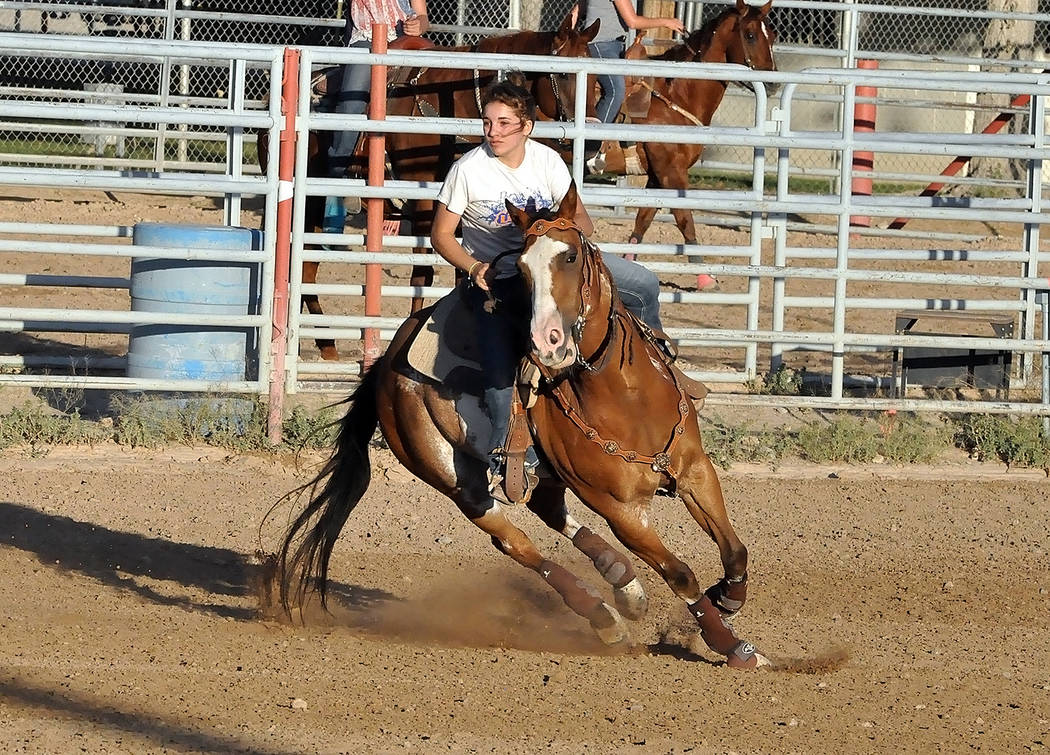 Horace Langford Jr./Pahrump Valley Times Several dozen riders competed June 16 in the monthly Pahrump Valley Rough Riders show at McCullough Arena.