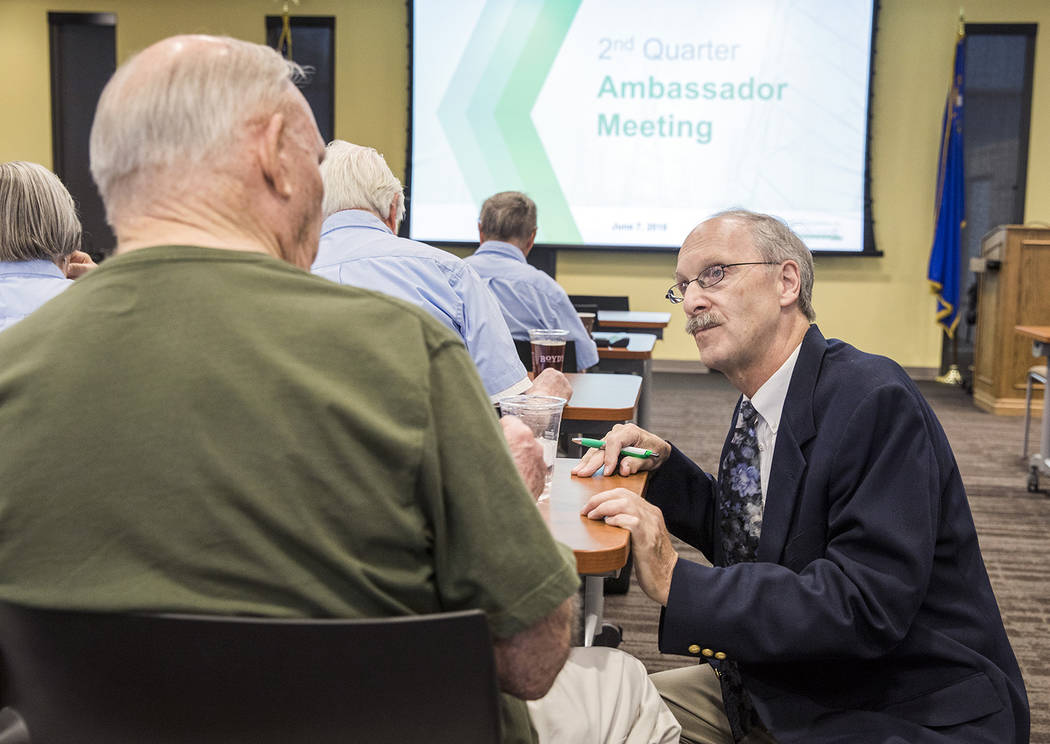 Special to the Pahrump Valley Times Ambassador Chairman Frank Bonesteel speaks with ambassadors. During the June 7 meeting, VEA recognized ambassador accomplishments during the 2017-18 year.