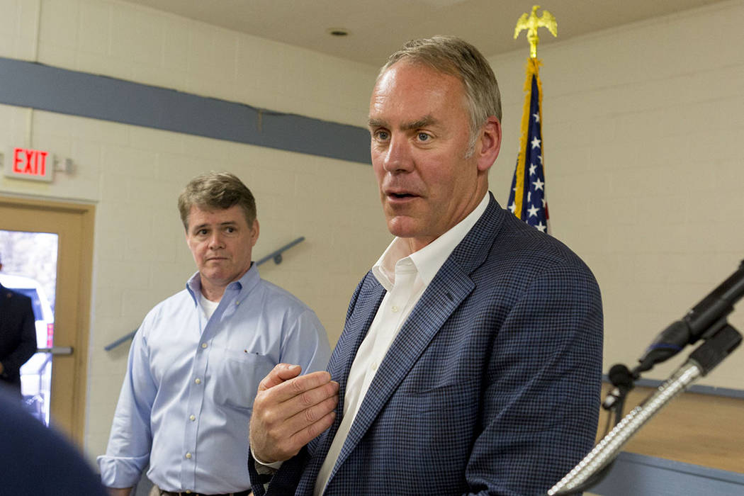 Elizabeth Brumle/ Las Vegas Review-Journal U.S. Secretary of the Interior Ryan Zinke at the Bob Ruud Community Center in Pahrump last summer.