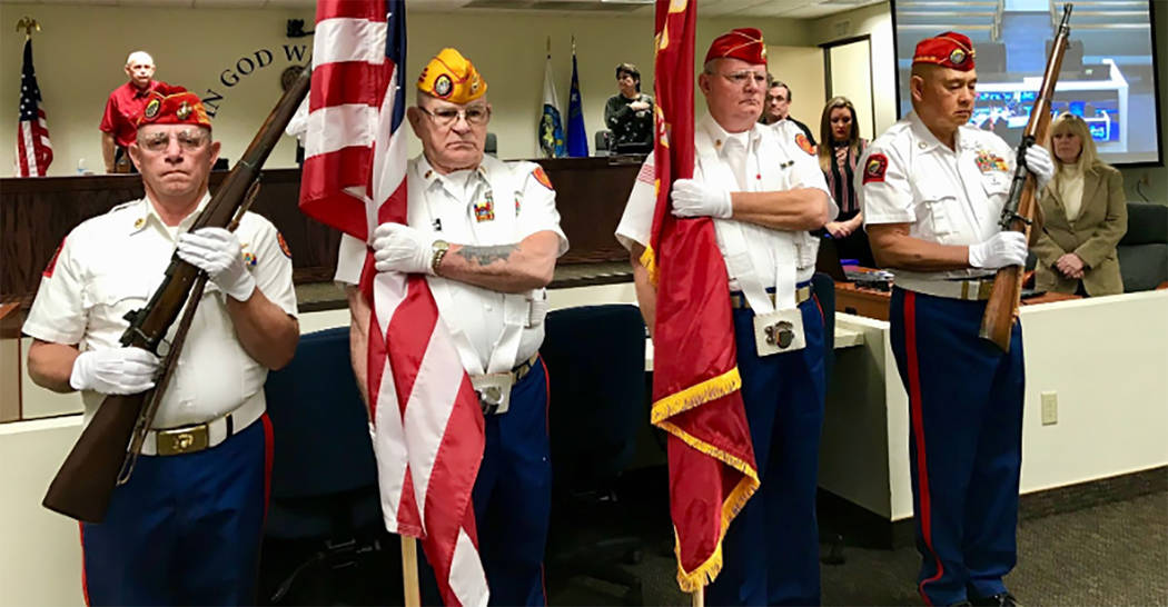 Special to the Pahrump Valley Times From left to right are Marine Corps League members William Olson, Frank Miller, Dan Griggs and Clifford Bermodes performing Color Guard and Rifle Squad duties.