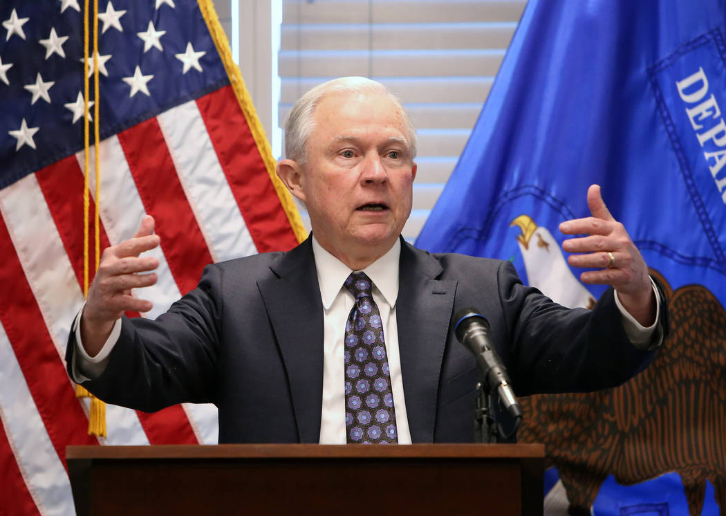 Bizuayehu Tesfaye/Las Vegas Review-Journal U.S. Attorney General Jeff Sessions delivers a speech to federal, state and local law enforcement about sanctuary cities and efforts to combat violent cr ...