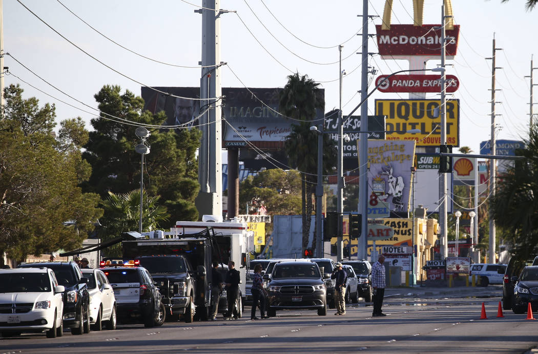 Chase Stevens/Las Vegas Review-Journal Law enforcement officers near the Route 91 music festival grounds along Las Vegas Boulevard near Reno Avenue in Las Vegas on Tuesday, Oct. 3, 2017. A gunman ...