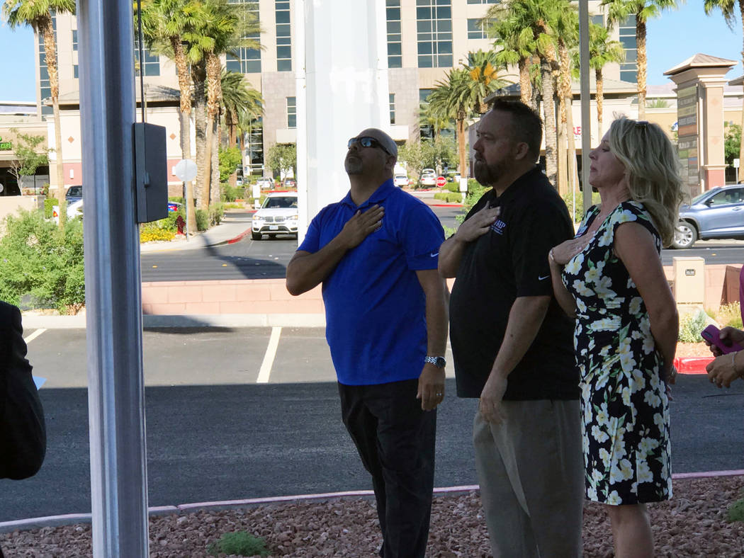 Jeffrey Meehan/Pahrump Valley Times Southern Nevada realtors and others gathered at an inaugural flag raising at the Greater Las Vegas Association of Realtors at the end of June. GLVAR has members ...