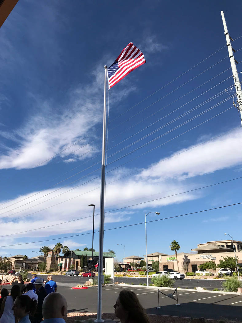 Jeffrey Meehan/Pahrump Valley Times The American flag flies in from of the Greater Las Vegas Association of Realtors headquarters at 6360 S. Rainbow Blvd. on June 28, 2018. The association, which ...