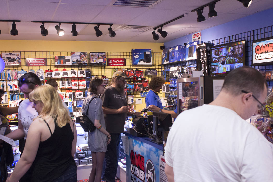 Jeffrey Meehan/Pahrump Valley Times Pahrump citizens grabbed deals and enjoyed an afternoon of video game action at a local video game retailer Game Corner on June 23, 2018. Game Corner expanded t ...