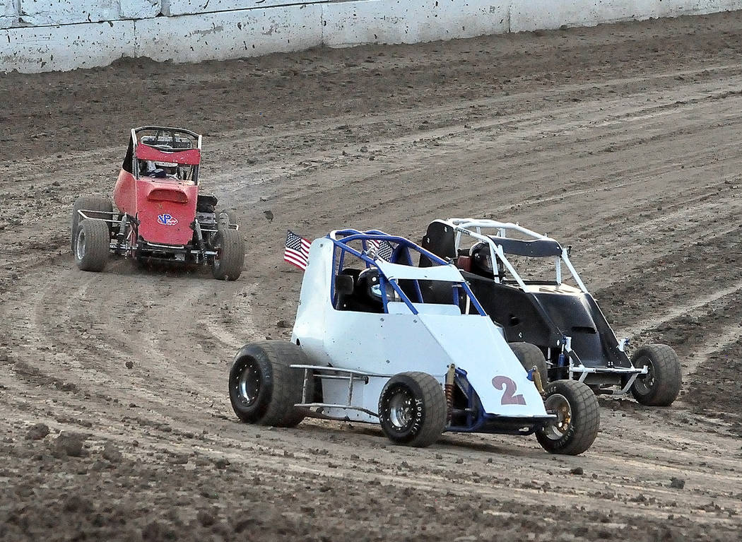 Horace Langford Jr./Pahrump Valley Times Jason Funk held a narrow lead in the Micro Spring division after the June 9 races at Pahrump Valley Speedway.