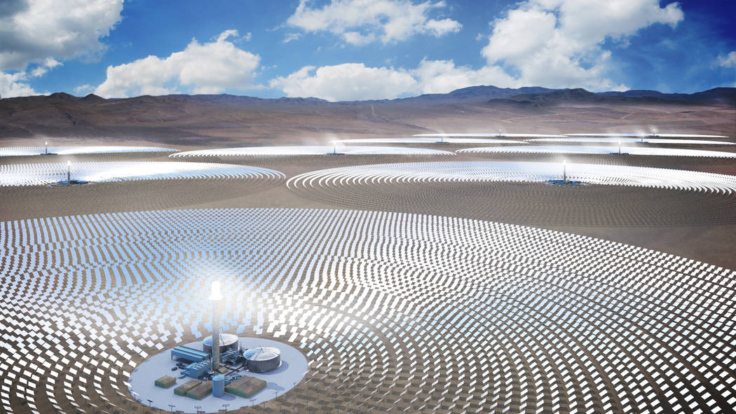 FIle/Courtesy of SolarReserve An artist rendering from 2016 shows SolarReserve's Sandstone project, a $5 billion, 10-tower concentrated solar array the California-based company plans to build in N ...