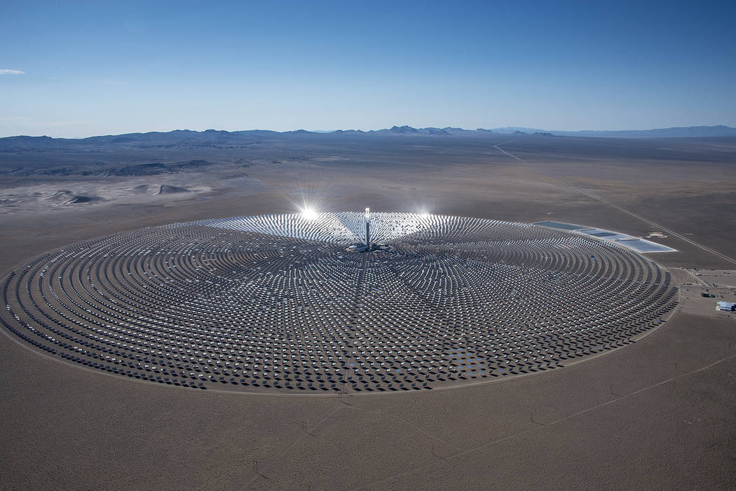 Special to the Pahrump Valley Times Crescent Dunes Solar Project located 15 miles northwest of Tonopah went online in July 2017 after more than 8-month outage that was caused by a leak from one of ...