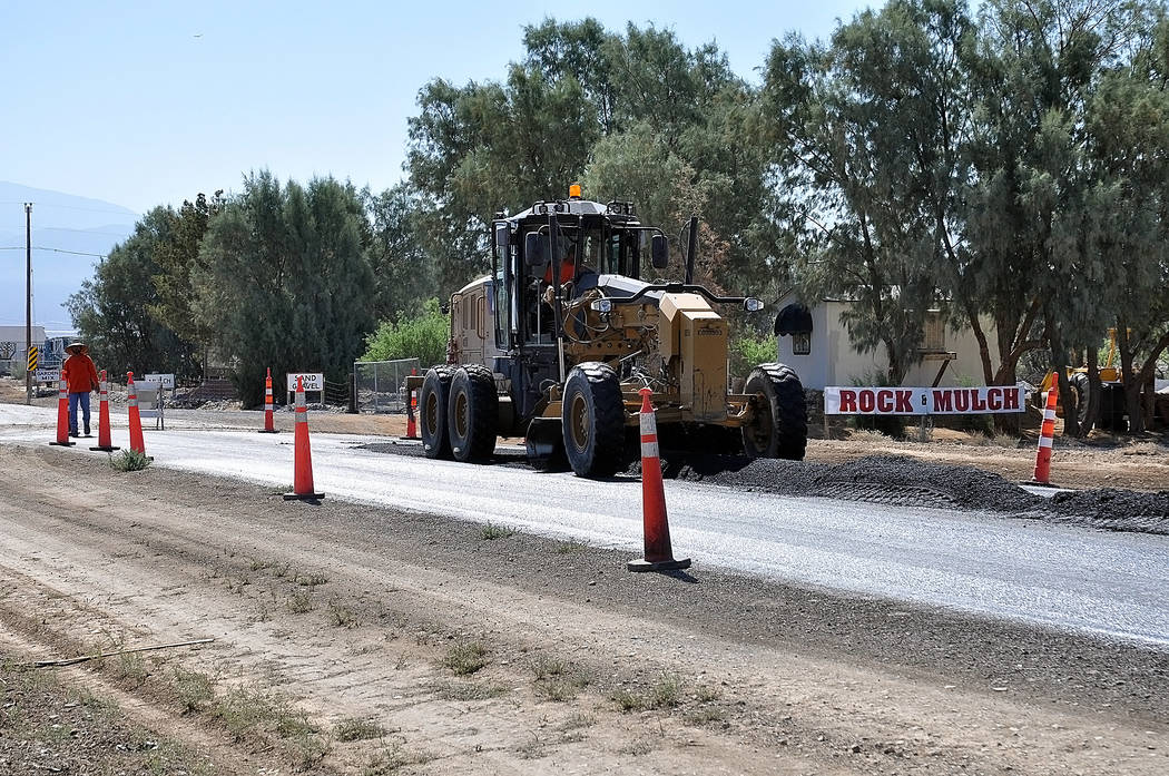Horace Langford Jr./Pahrump Valley Times A look at a large truck in the area of the road work at Bell Vista Avenue and Barney Street as shown in a photo earlier this week.