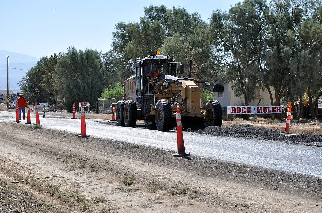 Horace Langford Jr./Pahrump Valley Times Crews this week are shown doing road improvements in Pahrump this week. More than a half-mile was involved.