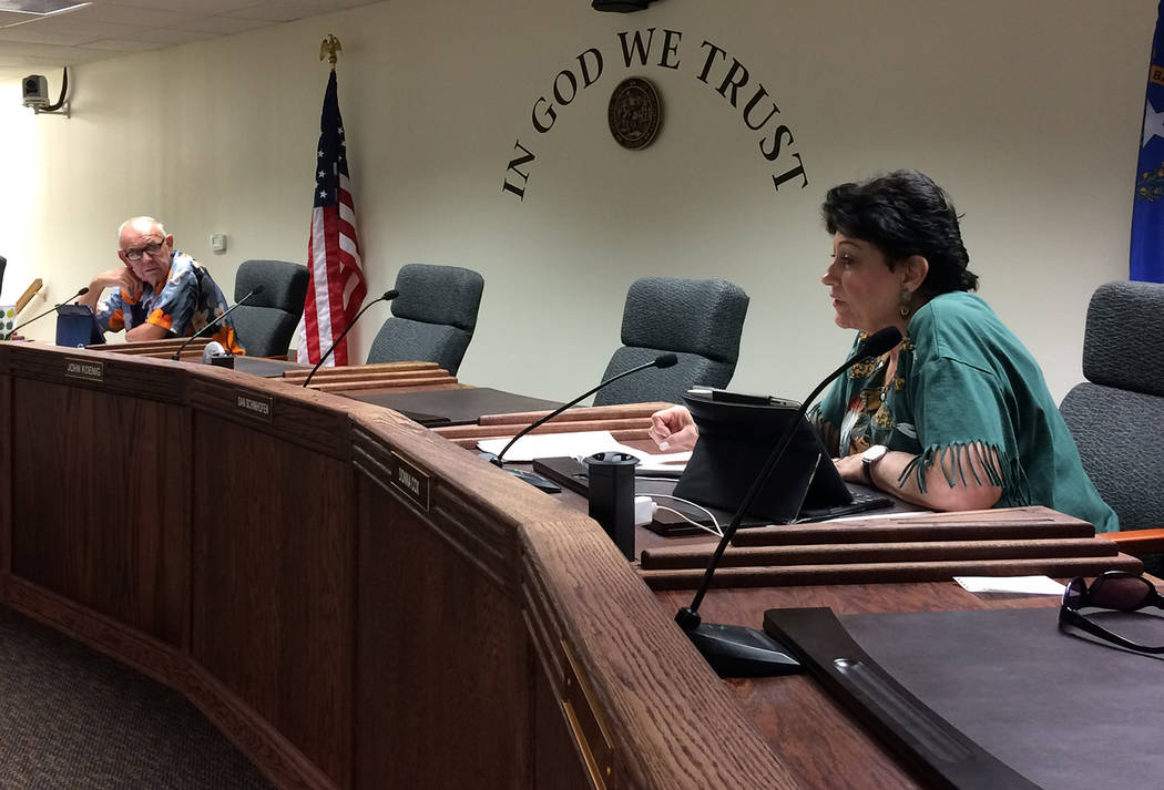Robin Hebrock/Pahrump Valley Times Nye County commissioners Donna Cox, left, and Butch Borasky, right, were in favor of filing an appeal on the Fifth Judicial District Court's decision regarding G ...