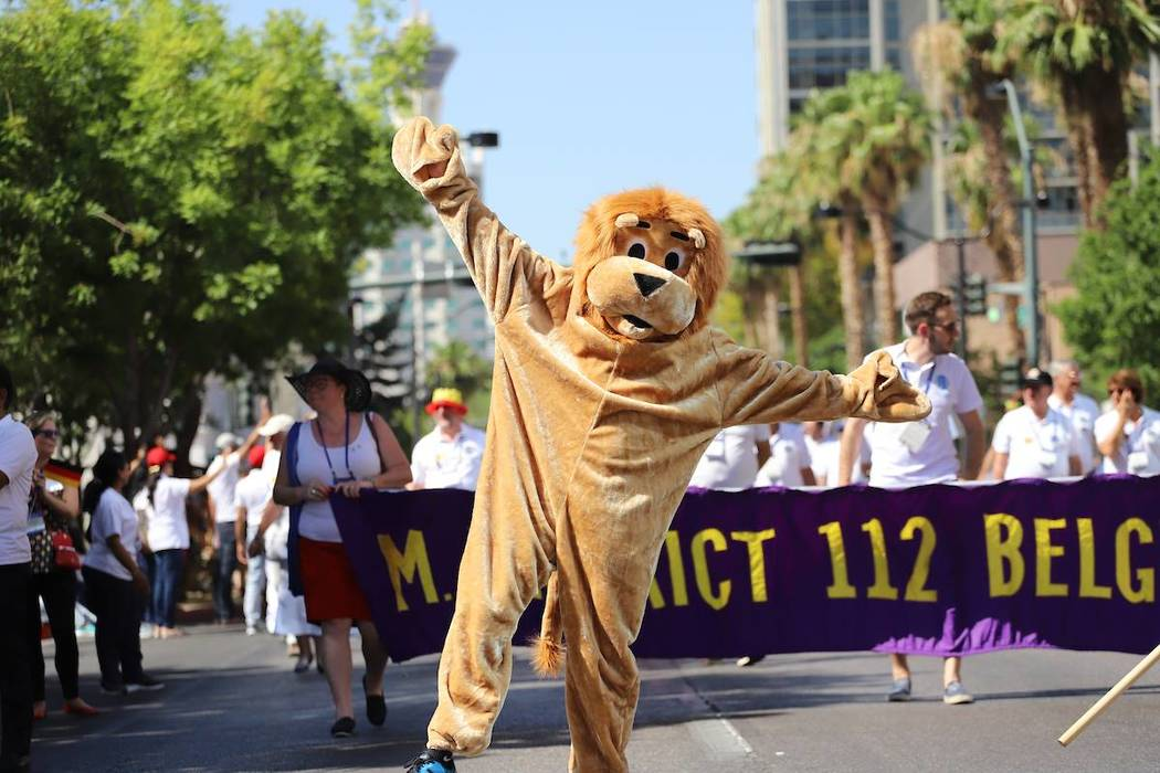 Special to the Pahrump Valley Times The Lions Club mascot is pictured cavorting for the crowds of spectators enjoying the 51st Parade of Nations.
