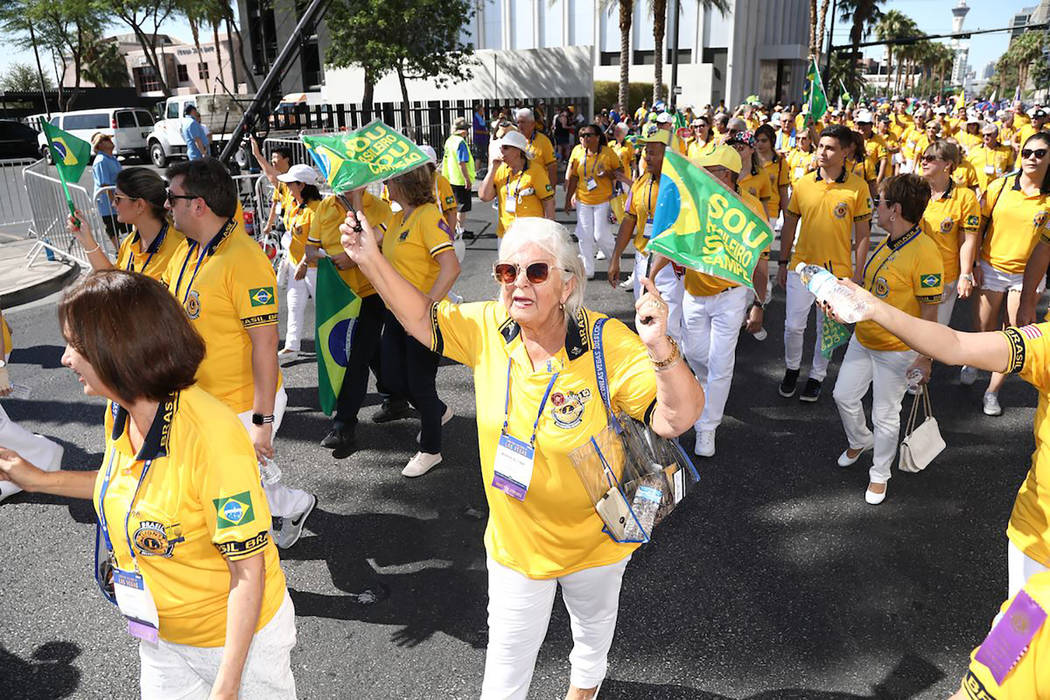 Special to the Pahrump Valley Times This photo, provided by the Lions Club International, shows just some of the thousands of Parade of Nations participants who took to the streets of Las Vegas on ...
