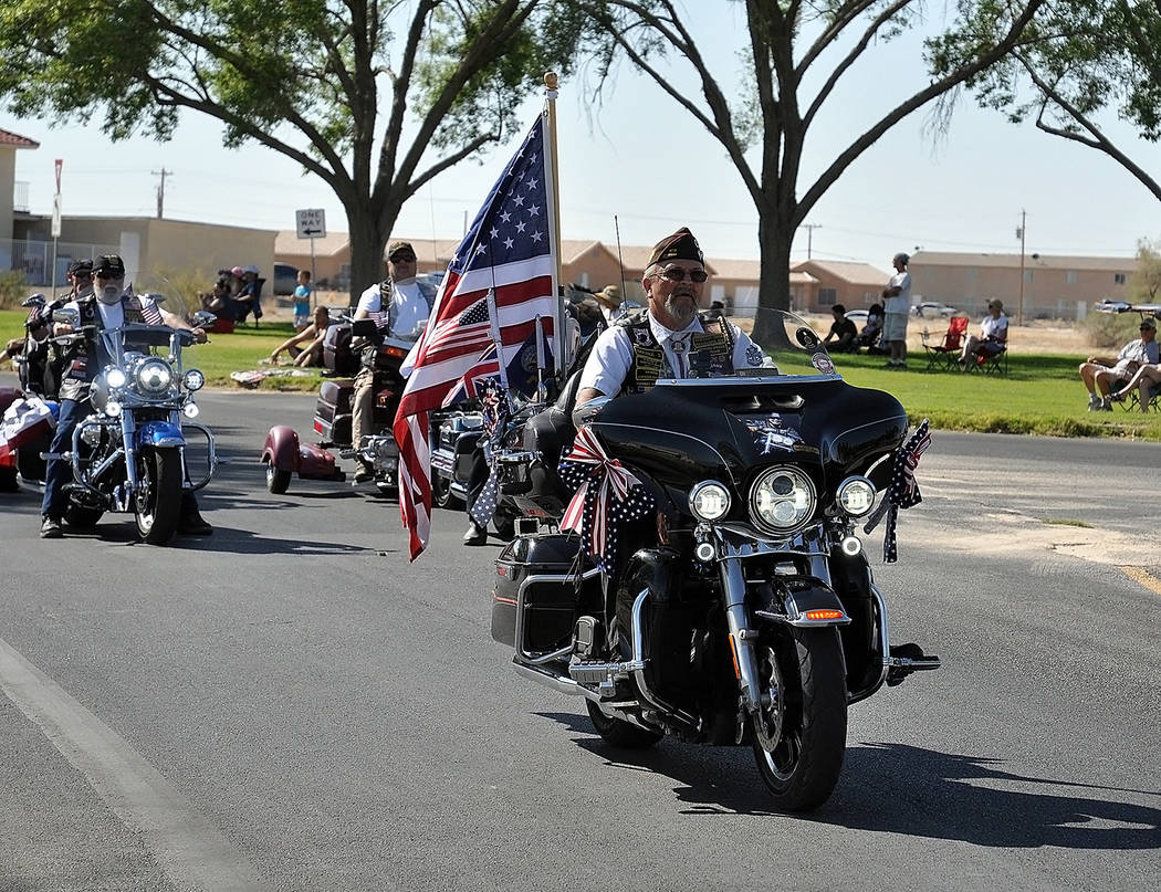 Horace Langford Jr./Pahrump Valley Times The VFW Riders displaying the Star Spangled Banner were a crowd favorite, among 25 other entries at the Independence Day Parade. Wednesday's pancake breakf ...