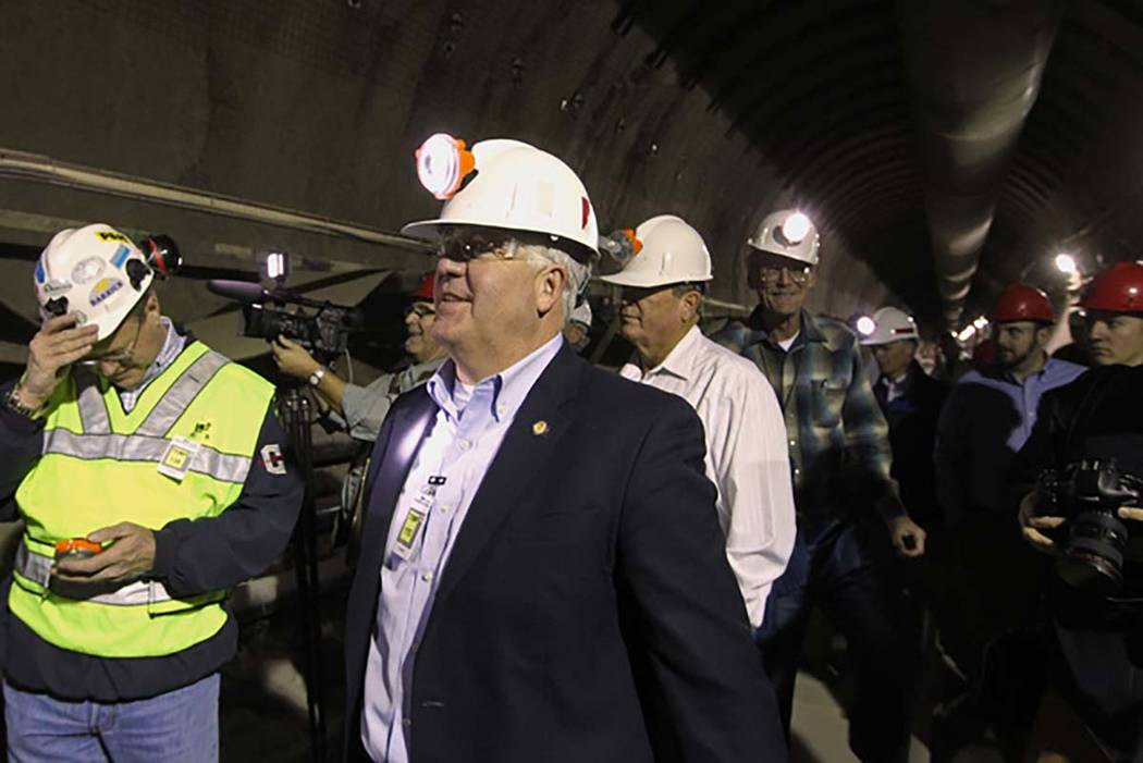 U.S. Rep. John Shimkus, R-Ill., leads a congressional tour of the Yucca Mountain exploratory tunnel Thursday, April 9, 2015. (Sam Morris/Las Vegas Review-Journal)