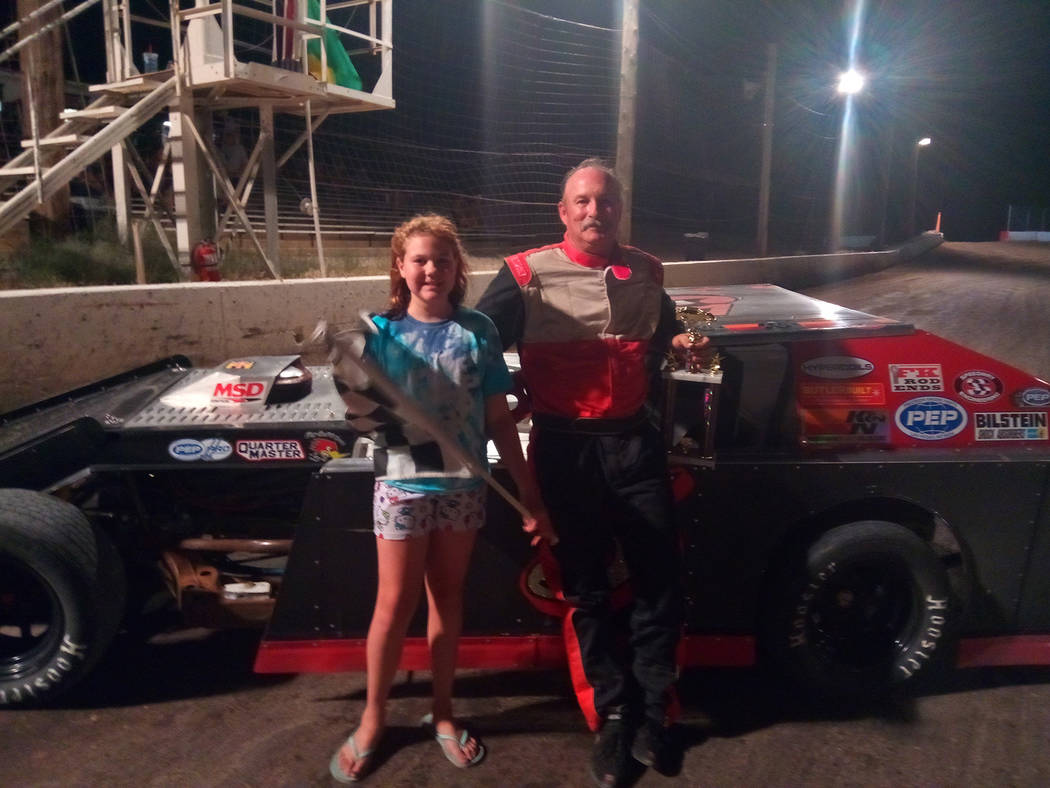 Dale Geissler/Pahrump Valley Times Mark Allison in car No. 5 won the Modifieds main event July 7 at Pahrump Valley Speedway.