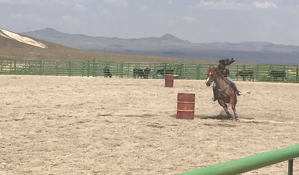 Kat Galli/Special to the Times-Bonanza & Goldfield News Barrel racing will again be among the events when the 2018 Town of Tonopah Rodeo takes place July 13-14.