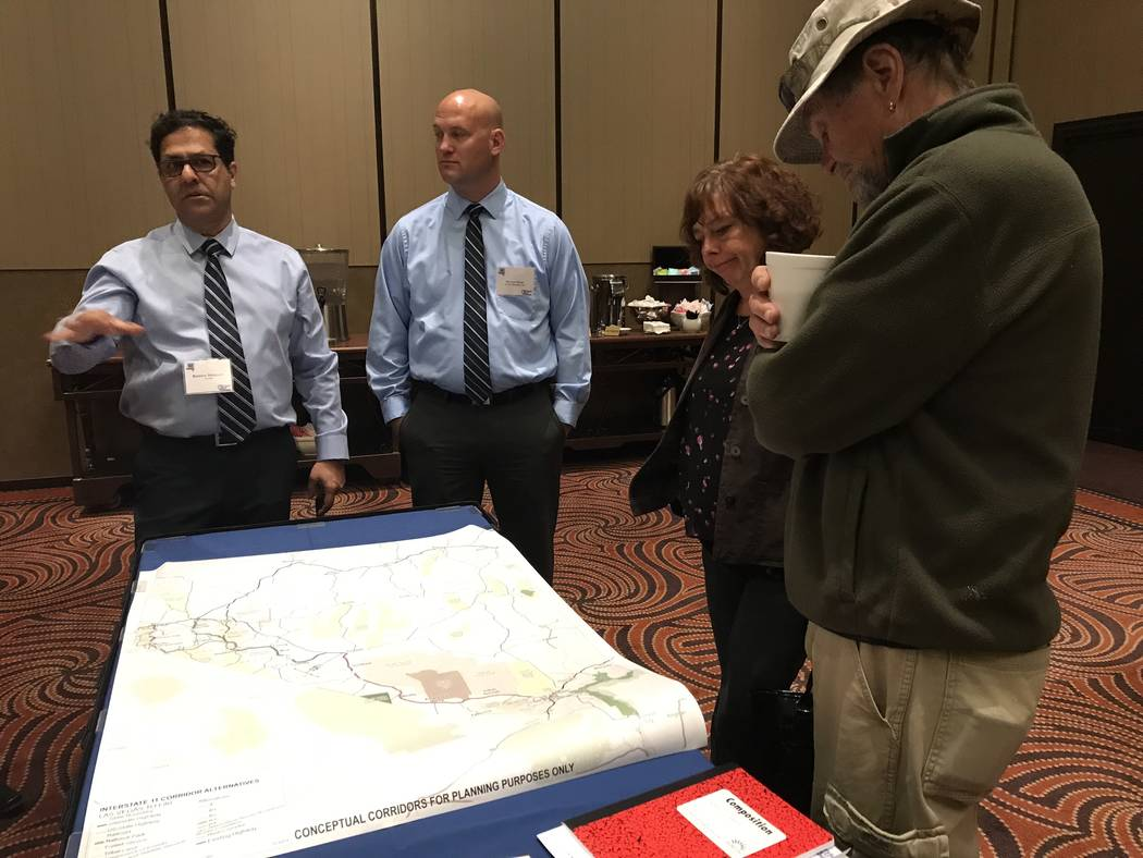 Jeffrey Meehan/Pahrump Valley Times City and county officials from Clark, Nye and other rural counties in Nevada, along with members of the public, learn about four alternative routes in Northern ...