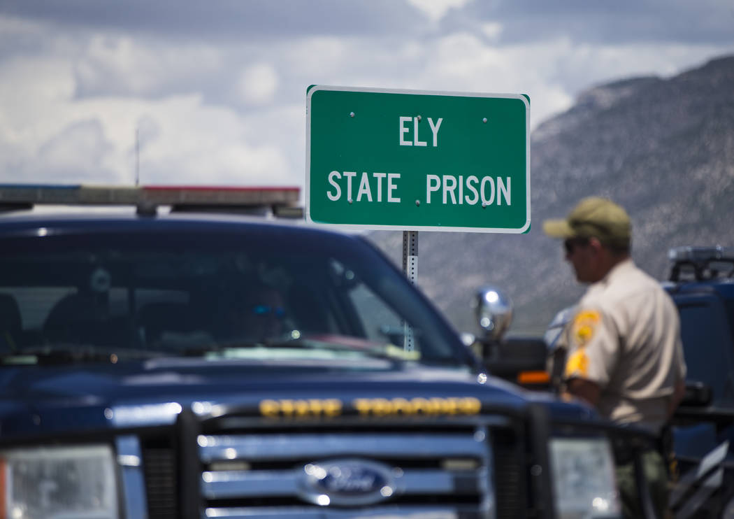 Law enforcement officials guard the entrance to Ely State Prison in Ely on Wednesday, July 11, 2018. Chase Stevens Las Vegas Review-Journal @csstevensphoto