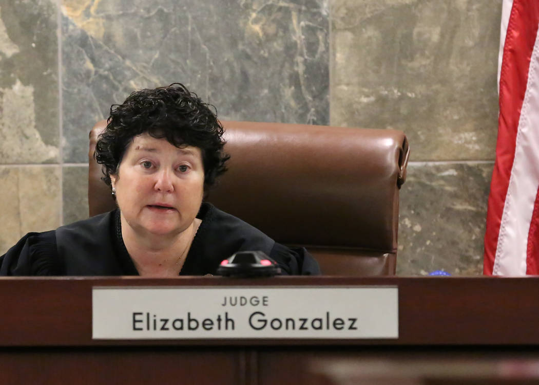 District Judge Elizabeth Gonzalez presides at the Regional Justice Center during a hearing on Wednesday, July 11, 2018, in Las Vegas. Drug manufacturer Alvogen filed suit in an effort to stop Neva ...