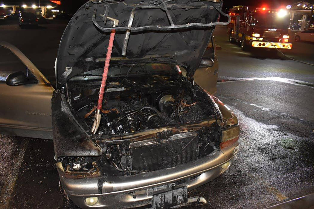 Special to the Pahrump Valley Times The entire engine compartment and much of the vehicle's interior was a total loss. Fire Chief Scott Lewis said no injuries were reported.