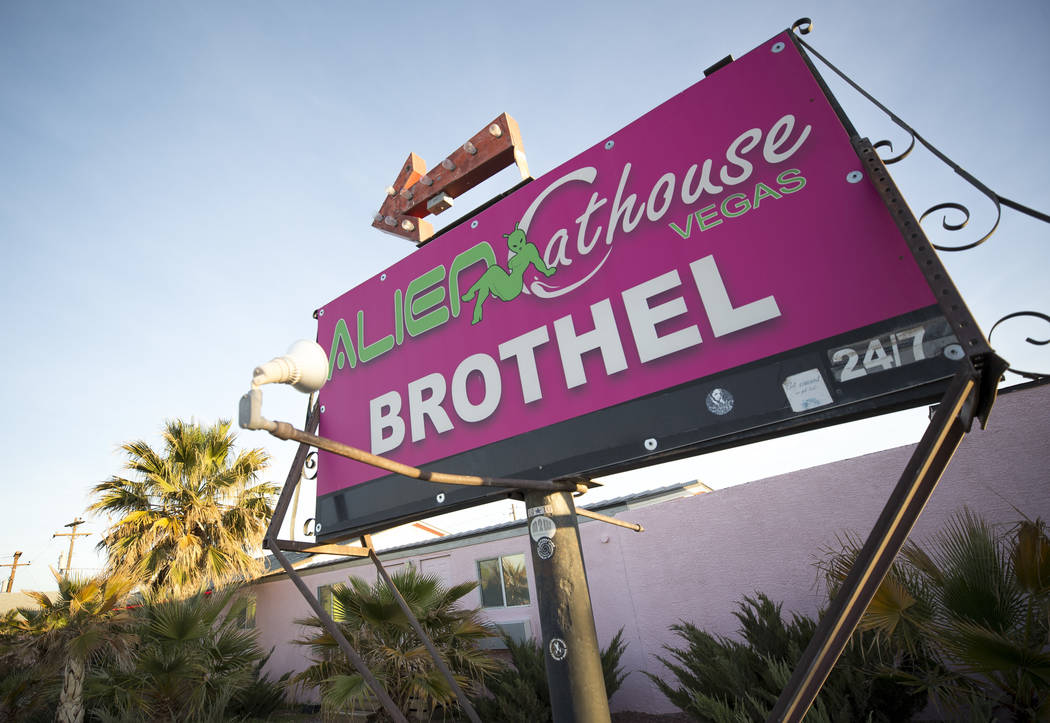 Richard Brian/Las Vegas Review-Journal The Alien Cathouse brothel behind the Area 51 Alien Center in Amargosa Valley, Nevada, about 90 miles north of Las Vegas, Friday, April 6, 2018.
