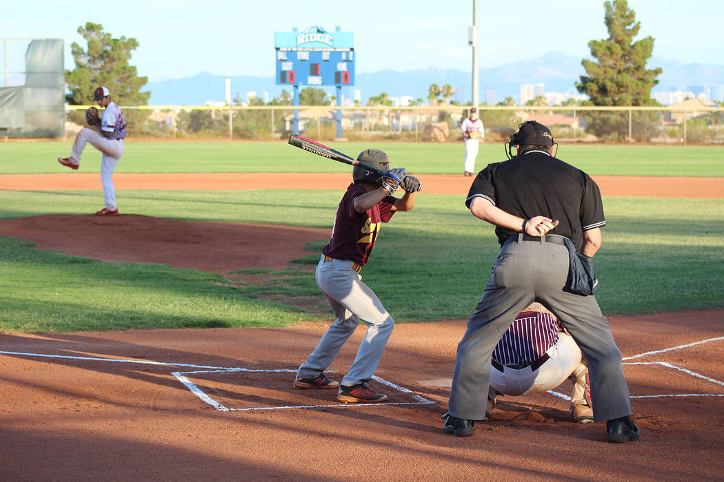 Tom Rysinski/Pahrump Valley Times P-Town starting pitcher Jay Amaya goes into his windup during the first inning against Summerlin North on Wednesday night in Las Vegas. Amaya retired seven of the ...