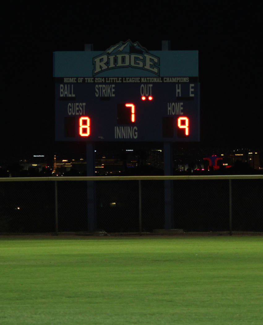 Tom Rysinski/Pahrump Valley Times The Mountain Ridge Park scoreboard tells the story after the District 4 Junior Little League championship Wednesday night.