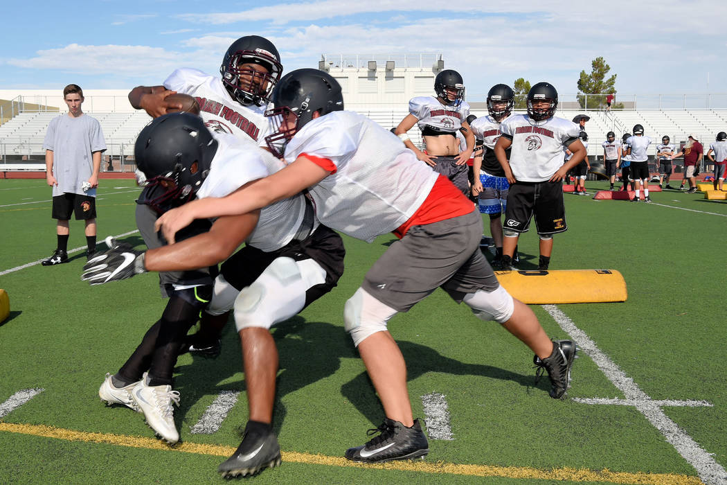 Peter Davis/Special to the Pahrump Valley Times After having the week off for Independence Day, Pahrump Valley High School football players spent a week practicing in full pads before heading to c ...