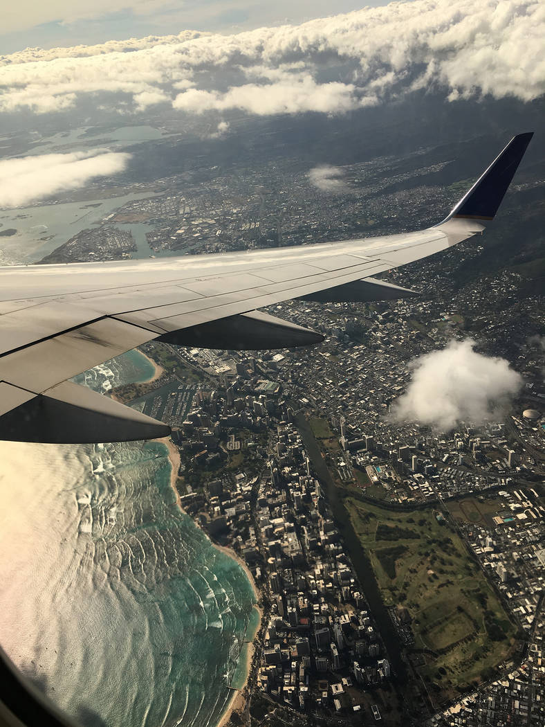 Sydney Dennis/Special to the Pahrump Valley Times The plane carrying the Players SC Elite 99 soccer team descends into Honolulu for the U.S. Youth Soccer Far West Region Championships in June.